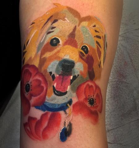Tattoos - Mosaic watercolor dog portrait - 125325