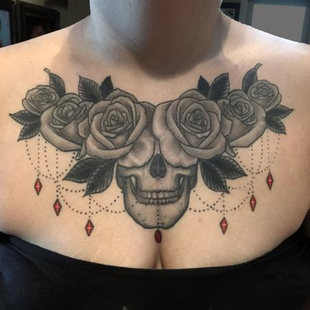 Tattoos - Black and Grey Skull and Roses (Healed) - 126316