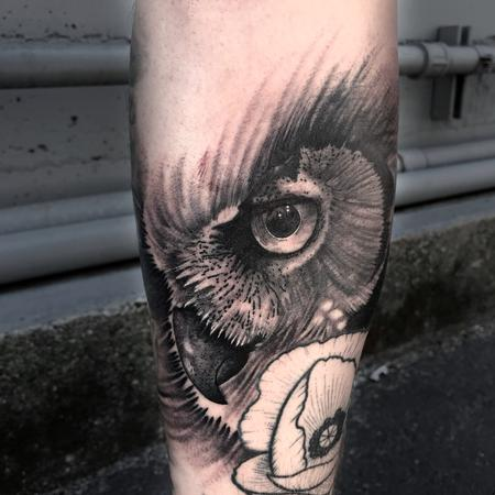 Tattoos - Balck and Grey Owl Eye - 128390