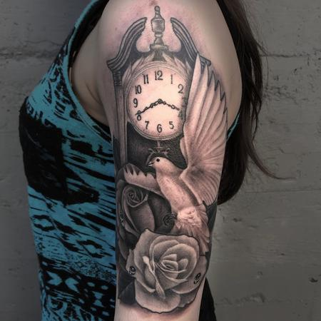 Tattoos - BLACK AND GREY CLOCK, ROSES AND DOVE - 132337