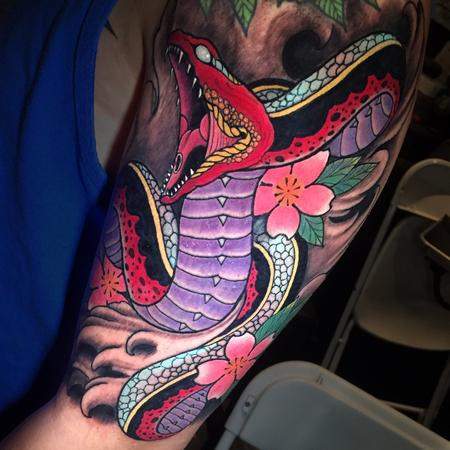 Tattoos - JAPANESE STYLE SNAKE AN CHERRY BLOSSOMS - 132341