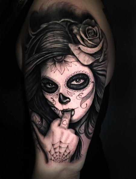 Tattoos - BLACK AND GREY DAY OF THE DEAD GIRL - 132342