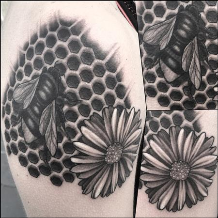Tattoos - Black and Grey Bee and daisy with honey comb - 119091