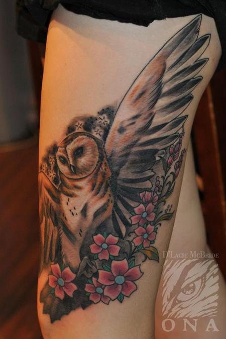 Tattoos - Owl & flowers tattoo - 84451