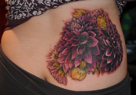 Tattoos - dahlia flower color tattoo - 84454