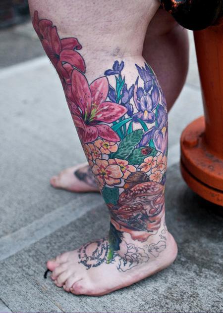 Tattoos - flowers bugs color tattoo - 84469
