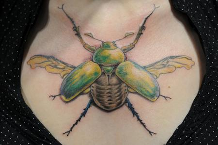 Tattoos - scarab beetle bug chest tattoo - 84471