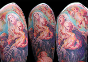 Tattoos - Mary and Jesus half sleeve - 33413