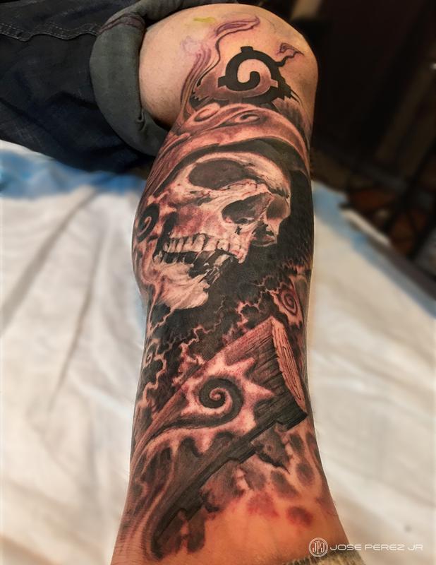 Aztec Warrior Skull By Jose Perez Jr Tattoonow