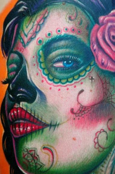 Tattoos - Sugar Skull Girl tattoo detail - 51318