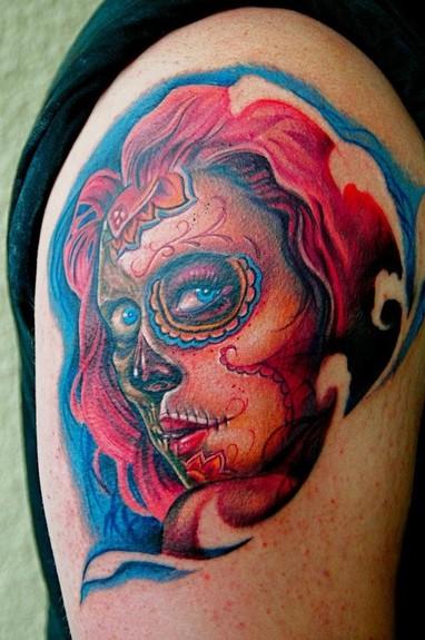 Tattoos - Sugar Skull Girl tattoo - 51317