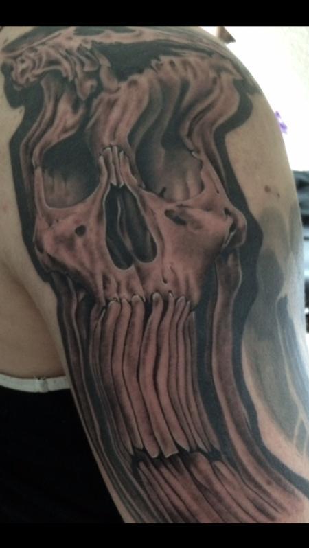Tattoos - Warped Black and Gray Skull - 119192