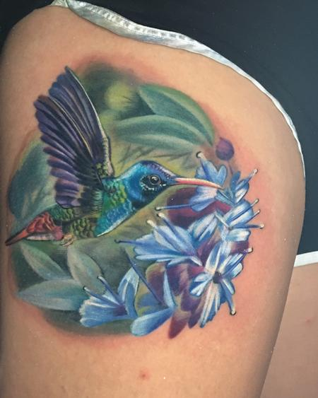 Tattoos - color realism hummingbird tattoo - 130641