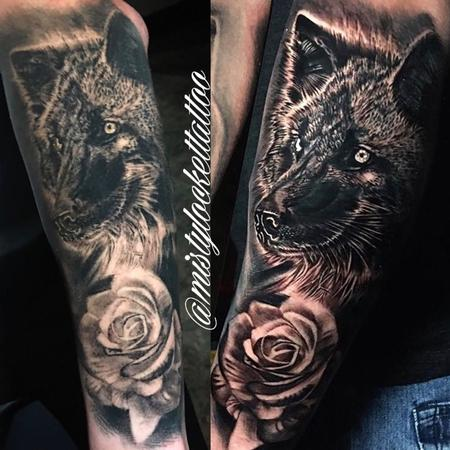 Tattoos - Black and grey wolf with rose - 132211