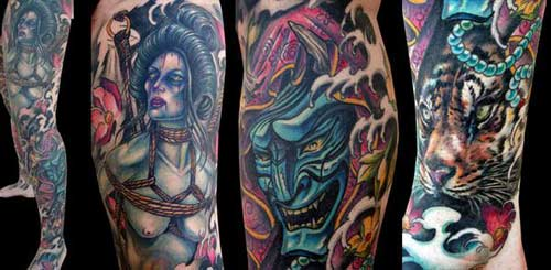 Tattoos - Japanese Inspired Leg Sleeve Tattoo - 25444