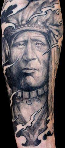 Tattoos - Native American Cheif Tattoo - 25445