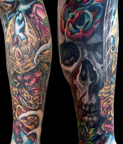 Tattoos - Warrior and Skull Sleeve Tattoo - 25450