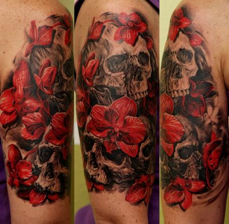 Tattoos - Custom Flower Skull - 63839