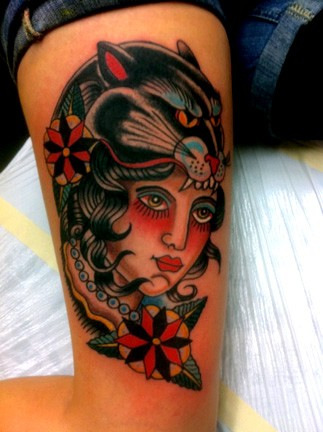 Tattoos - Panther Head on a head - 52687