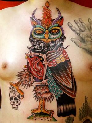 Robert Ryan - Owl Chest Tattoo