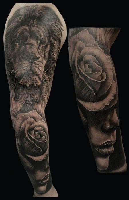 Tattoos - Realistic Lion, Rose, Portrait Sleeve  - 123645