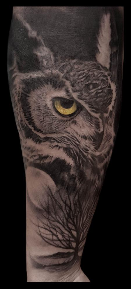 Tattoos - owl and moon - 125318