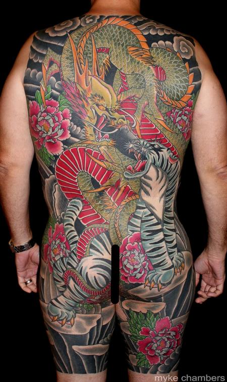 Tattoos - Tiger Dragon Back Piece - 80119