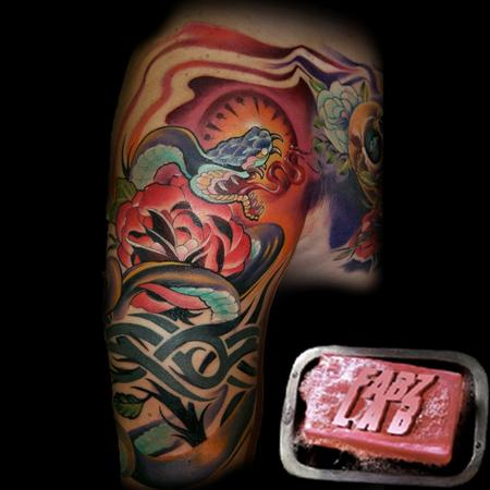 Tattoos - Neo- Traditional Snake Tattoo - 62174