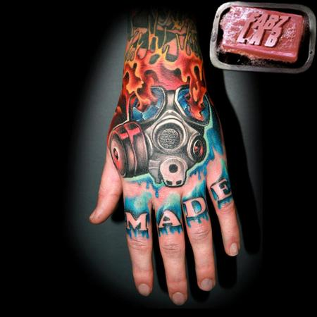 Tattoos - Gas Mask Hand Tattoo - 62176