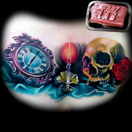 Tattoos - Skull, Candle, Time Chest Piece Tattoo - 62178