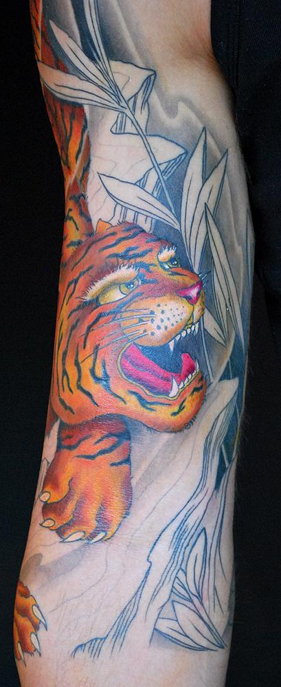 Tattoos - Tiger $ Buddha in progress - 57294