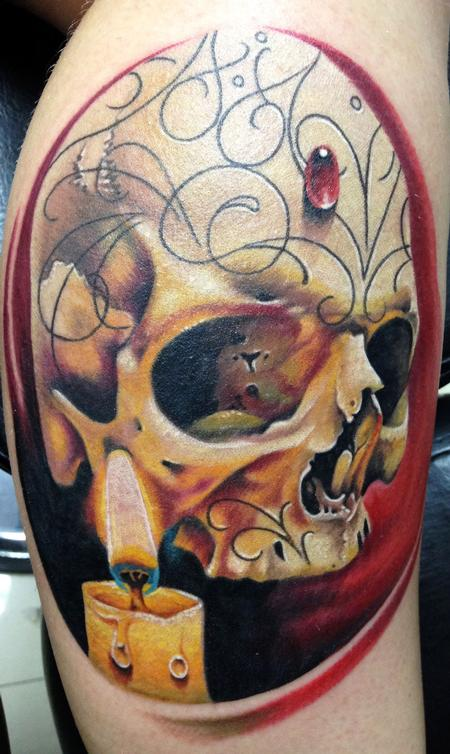 Tattoos - Skull and Candle  - 91270