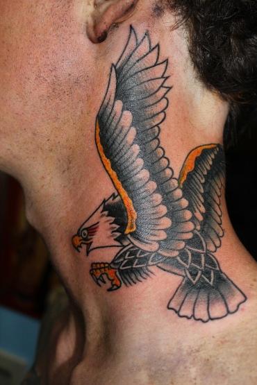 Tattoos - Traditional Eagle Neck Tattoo - 61639