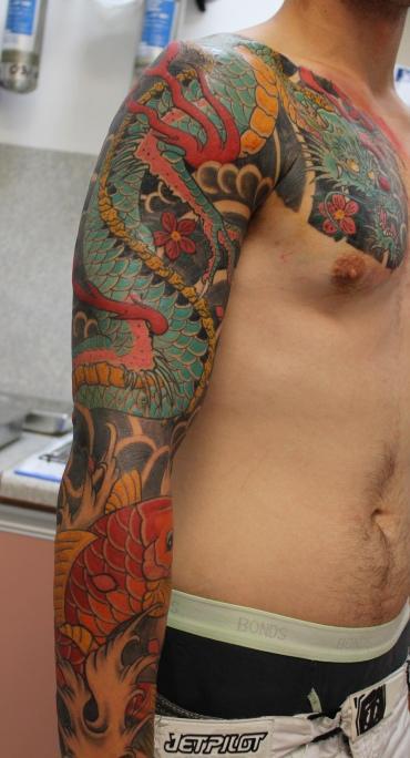 Tattoos - Japanese Dragon and Koi Fish Sleeve - 61637