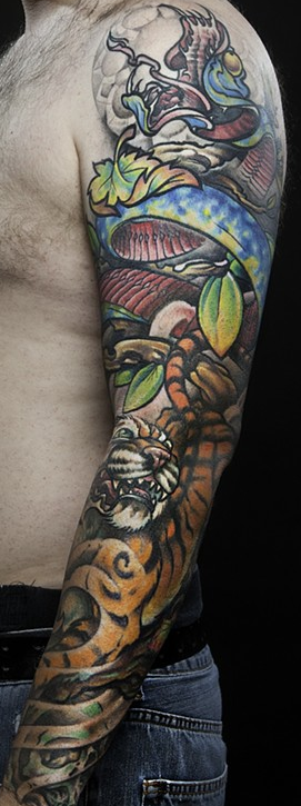 Tattoos - Snake and Tiger sleeve - 75280