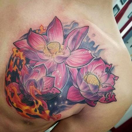 Tattoos - Lotus flowers and flames - 132179