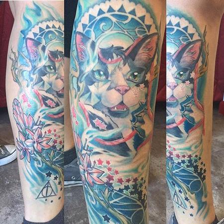 Tattoos - Art Nouveau cat tattoo - 132175