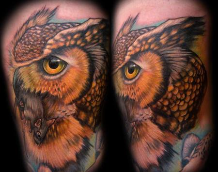 Tattoos - Owl with Mouse - 126769
