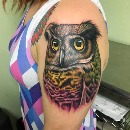 Tattoos - Colorful Owl - 127686