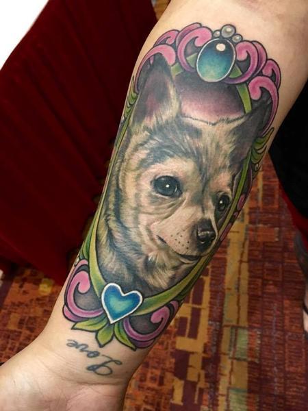 Tattoos - Chihuahua Dog Memorial Tattoo - 129275
