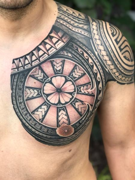 Tattoos - polynesian chest piece - 132756