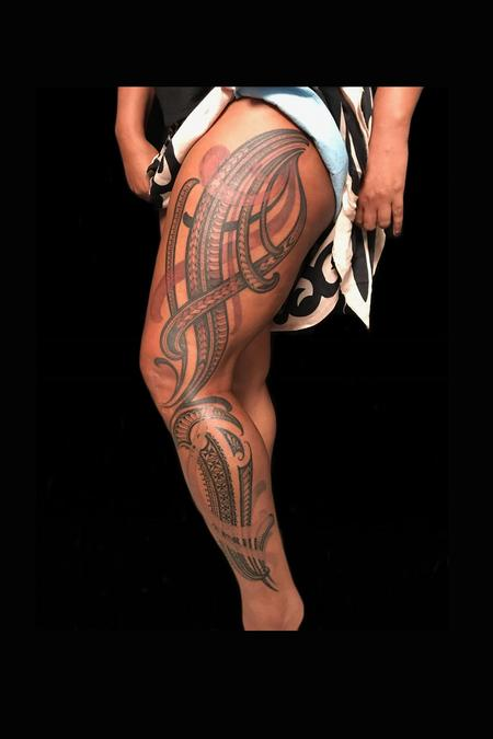 Tattoos - female polynesian leg piece - 132767