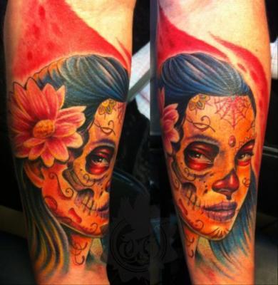 Tattoos - Sugar Skull Tattoo - 60563