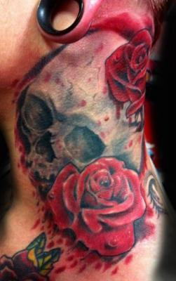 Tattoos - Realistic Skull and Rose Tattoo - 60564