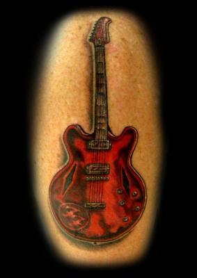 Tattoos - Realistic Guitar Tattoo - 60570