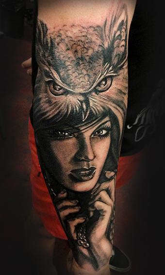 Tattoos - Owl & Lady - 78094