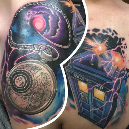 Tattoos - Dr. Who Tardis and pocket watch  - 100921