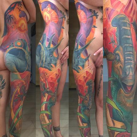 Tattoos - Dinosaur Side Leg Sleeve Tattoo - 110127