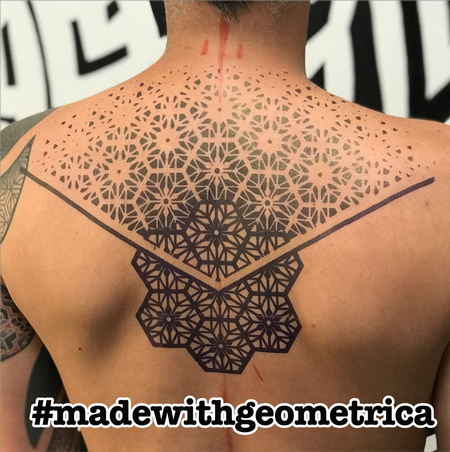 Cory Ferguson - geometric back tattoo