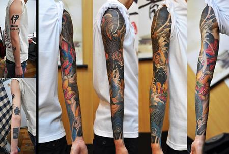Tattoos - Color Koi Fish Sleeve Tattoo - 61603